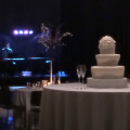 wedding cake with jazz piano in background