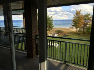 northport bay retreat balcony to lake michigan