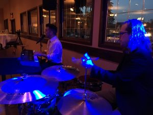 dueling pianos with drums at lavender crest winery