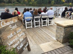Indie style wedding lakeside ceremony