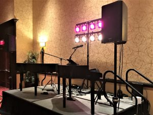 Felix and Fingers Dueling Pianos setup at the Bloomington-Normal Marriott.