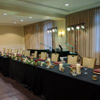 Hotel Blackhawk Davenport Wedding head table and stage